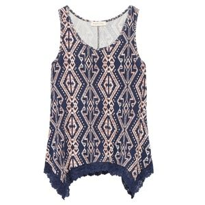 Moon & Sky Crochet Knit Detail Tank